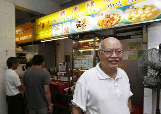 Tang Chay Seng  at his Hill Street Tai Hwa Pork Noodle stall in Crawford Lane.