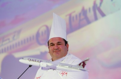 Lebanon's Chef Ramzi Choueiri speaks during a news conferance at the culinary Journey in the sky in Doha